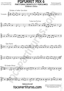Mix 6 Partitura de Trompeta y Fliscorno Estaba el Señor Don Gato, Todos los Patitos, Qué llueva Infantil, El Conde Olinos Mix 6 Sheet Music for Trumpet and Flugelhorn Music Scores