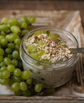 savoury fruit yogurt | grapes and popped amaranth yogurt jar
