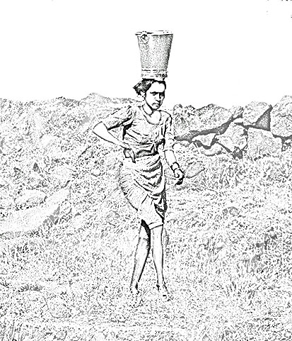 tribal woman carrying water sketch