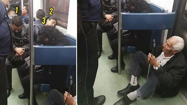 Abuelito viaja sentado en el piso del metro, mientras mujer se hace la dormida