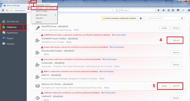 طريقة حذف الأضافات من متصفح فايرفوكس