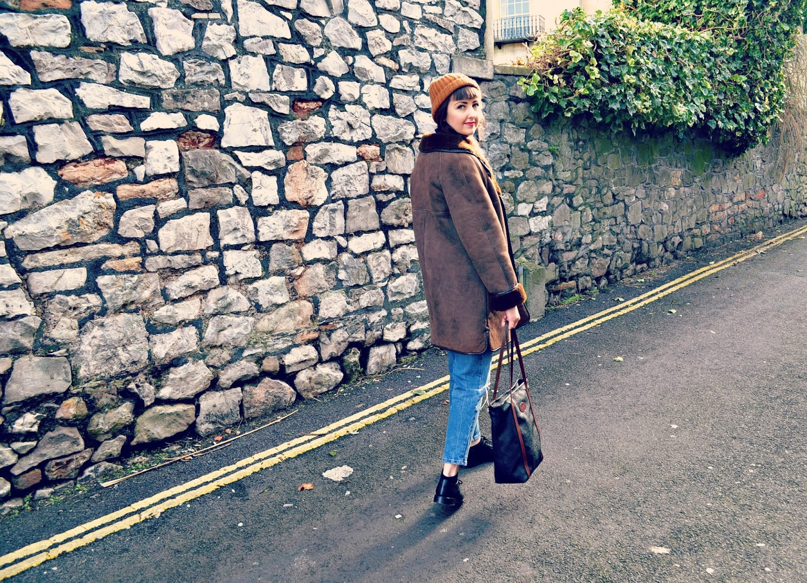 vintage looks, vintage style, sheepskin coat, brogues, asos thea jeans