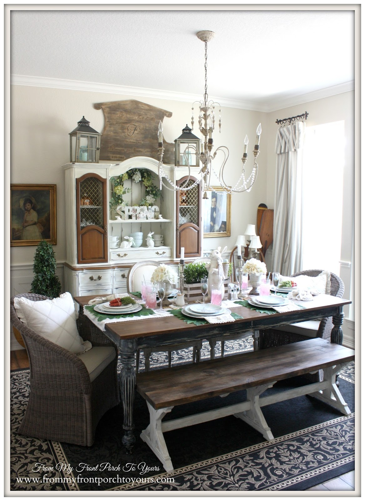 French Farmhouse Easter Dining Room-Full View- From My Front Porch To Yours