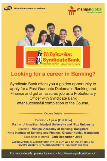 Syndicate Bank Probationary Officers recruitment by PGDBF 2016