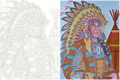 Before and after coloring page America Indian