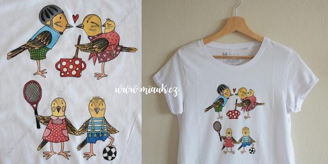 strnadí letka malované tričko