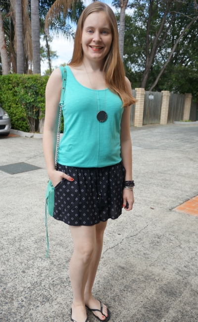 blue tank, aqua bag, Jeanswest Parker printed shirred short. Summer SAHM style | awayfromtheblue