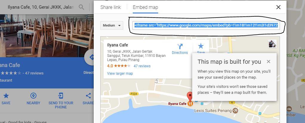 google maps insert, kongsi google maps dalam entry blog, google maps