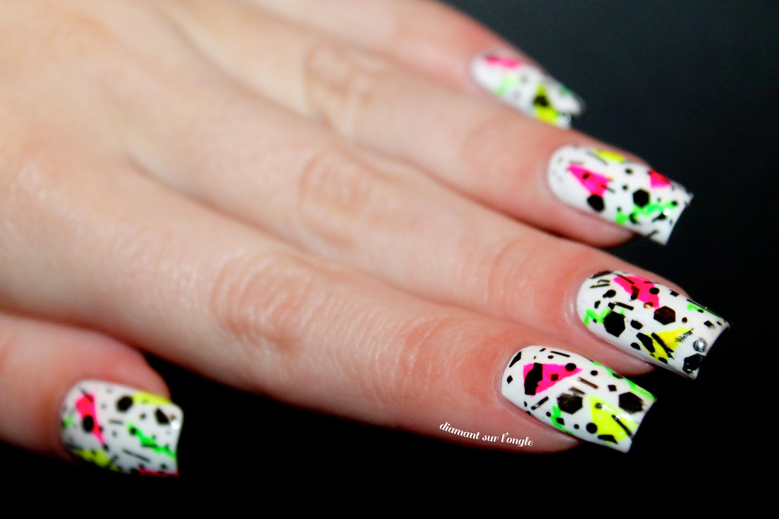 neon bright nail art inspired by the eighties