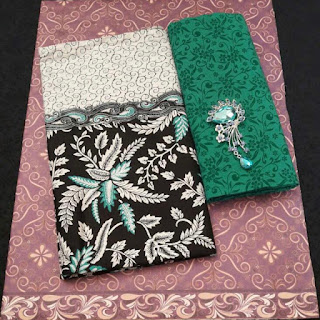 Kain Batik dan Embos 470 Pekalongan motif Daun Hijau