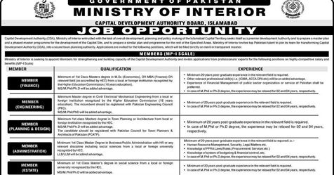 Ministry of Interior Jobs 2019 for Capital Development Authority CDA Islamabad Latest
