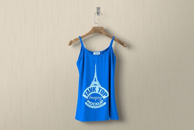 blue color tant top for ladies psd editable template