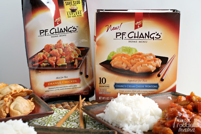 P.F. Chang's Home Menu options are the perfect way to get yourself over the hump of the week. Just whip up this delicious orange chicken, the cream cheese wontons, this easy to make Sweet & Spicy Sriracha Sauce, and serve with rice, and voila!