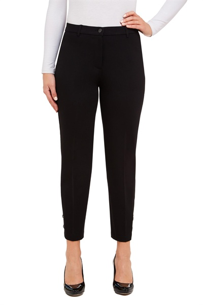 7b052b41d28b4 Here's a pair of chic fly front ankle pants with shiny grommets and lace-up  details at the hem.