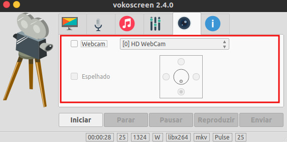 usar a webcam no vokoscreen