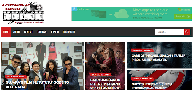 A Potpourri of Vestiges, Web Screenshot, A movie source for film enthusiasts