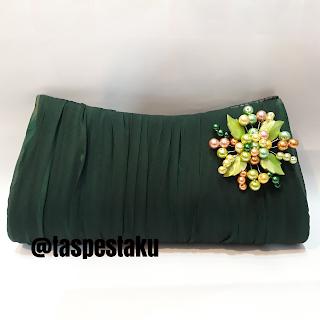 Clutch Bag Tas Pesta Dompet Warna Hijau Green Bross Mutiara Siap Buat Acara Kondangan