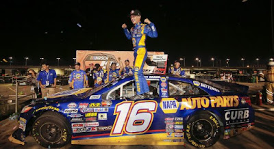 Derek Kraus celebrates in Victory Lane after winning the Monaco Gateway Classic