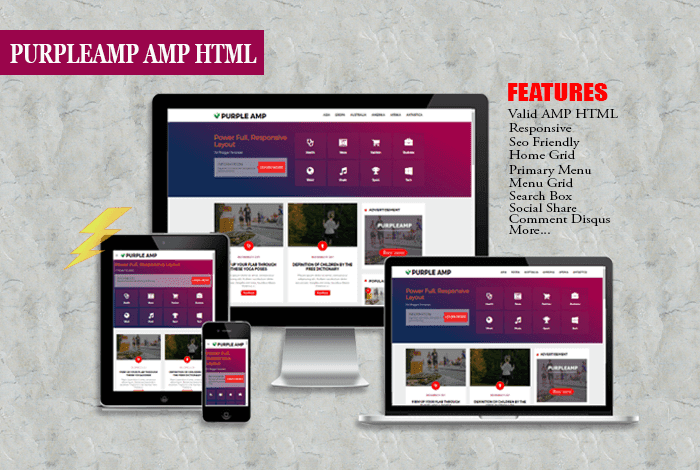 Purple AMP HTML Responsive Blogger Template