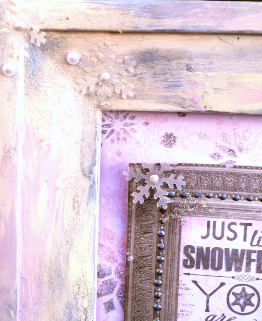 Just like a snowflake mixed media by Katherine Sutton using BoBunny Winter Wishes