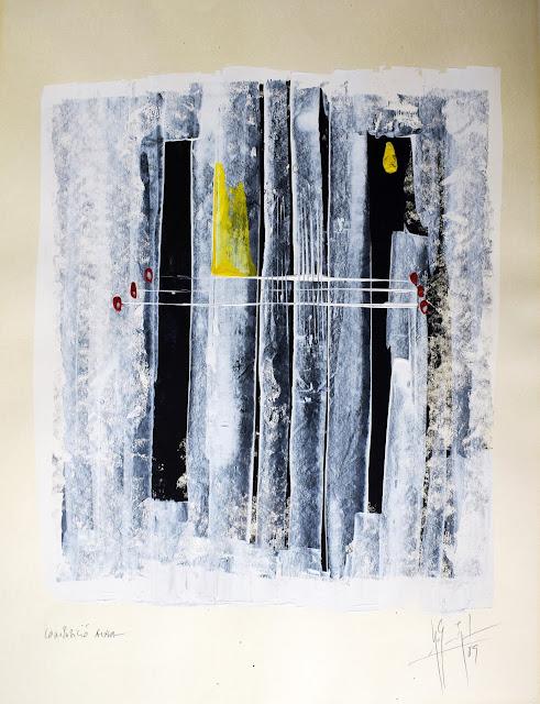 Miquel Ros i Saballs obra gráfica contemporánea acrílico y cera sobre papel
