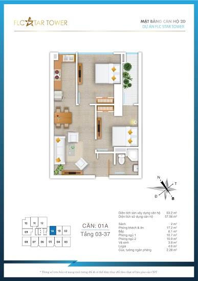 Mặt bằng căn 01A chung cư FLC STAR TOWER