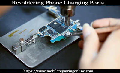 Resoldering Charging connectors and USB port one side on the smartphone pcb