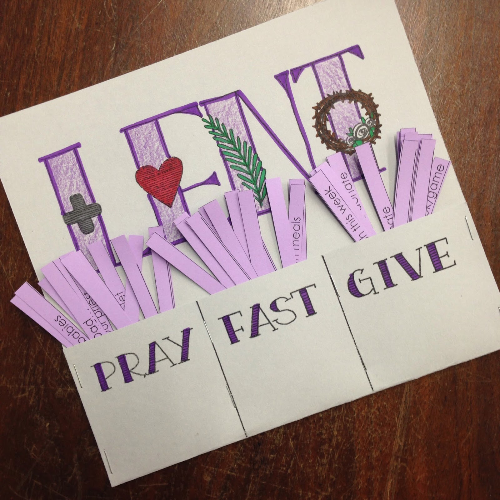Hang up the pray fast give printable on the fridge or above a desk or on a chalkboard and have the kids draw the prayer and sacrifice they will offer