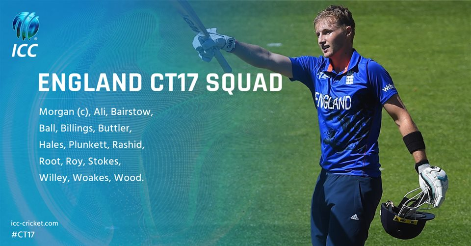 England 15 Man Squad List For ICC Champions