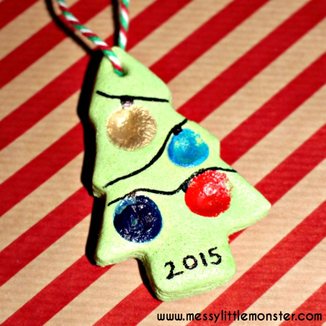 Gift tag or tree ornament made from salt dough.  Makes a great keepsake.