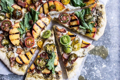 BLT Grilled Peach Pizza with Jalapeño Honey & Gorgonzola