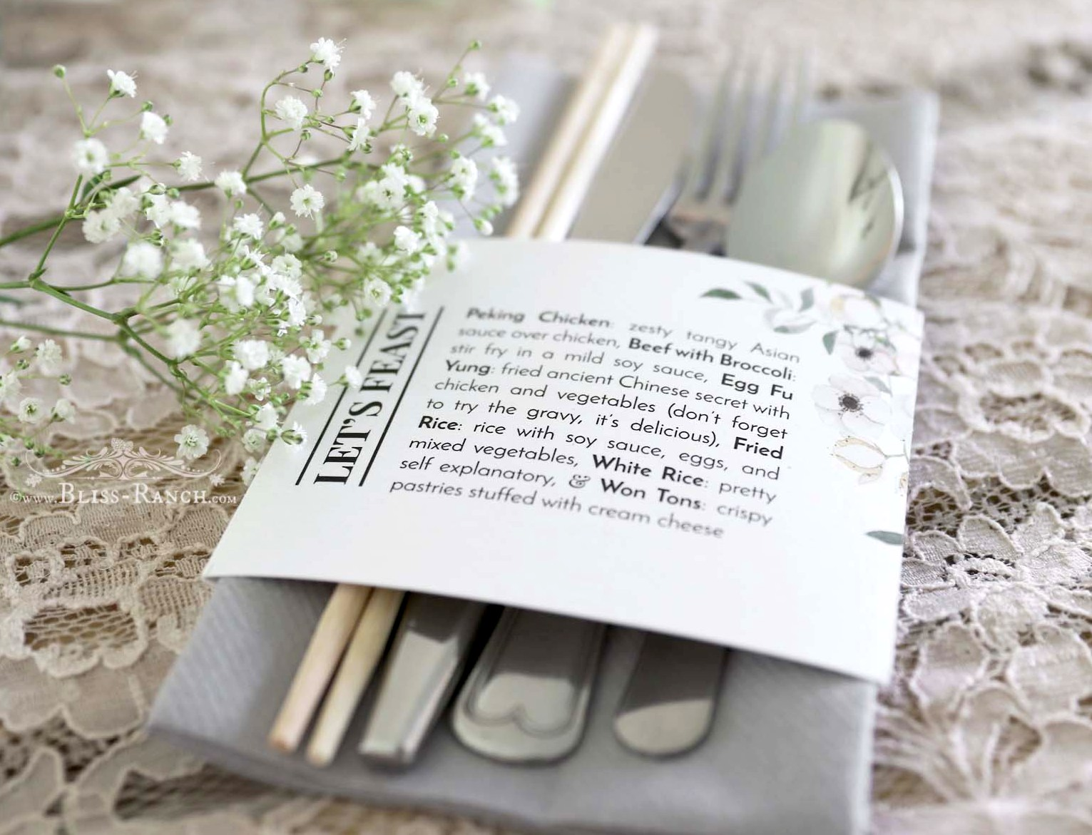 Bliss Ranch: Napkins That Fool You & Wedding Menu Bands