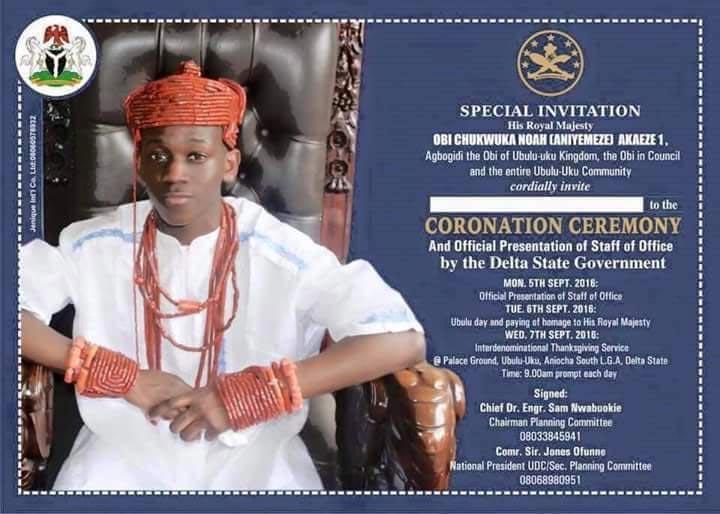 Youngest Nigerian king HRM Chukwuka Akaeze's coronation holds next week