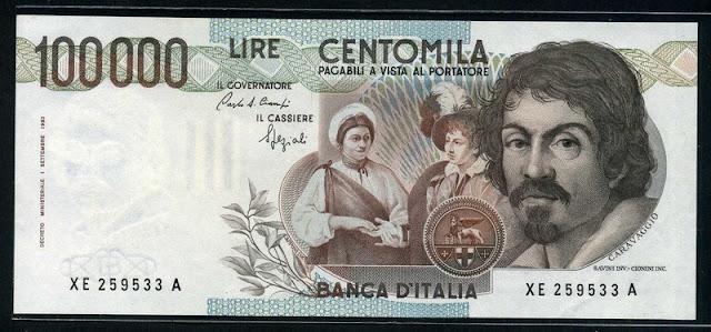 Italian Currency 100000 lire banknote money bill