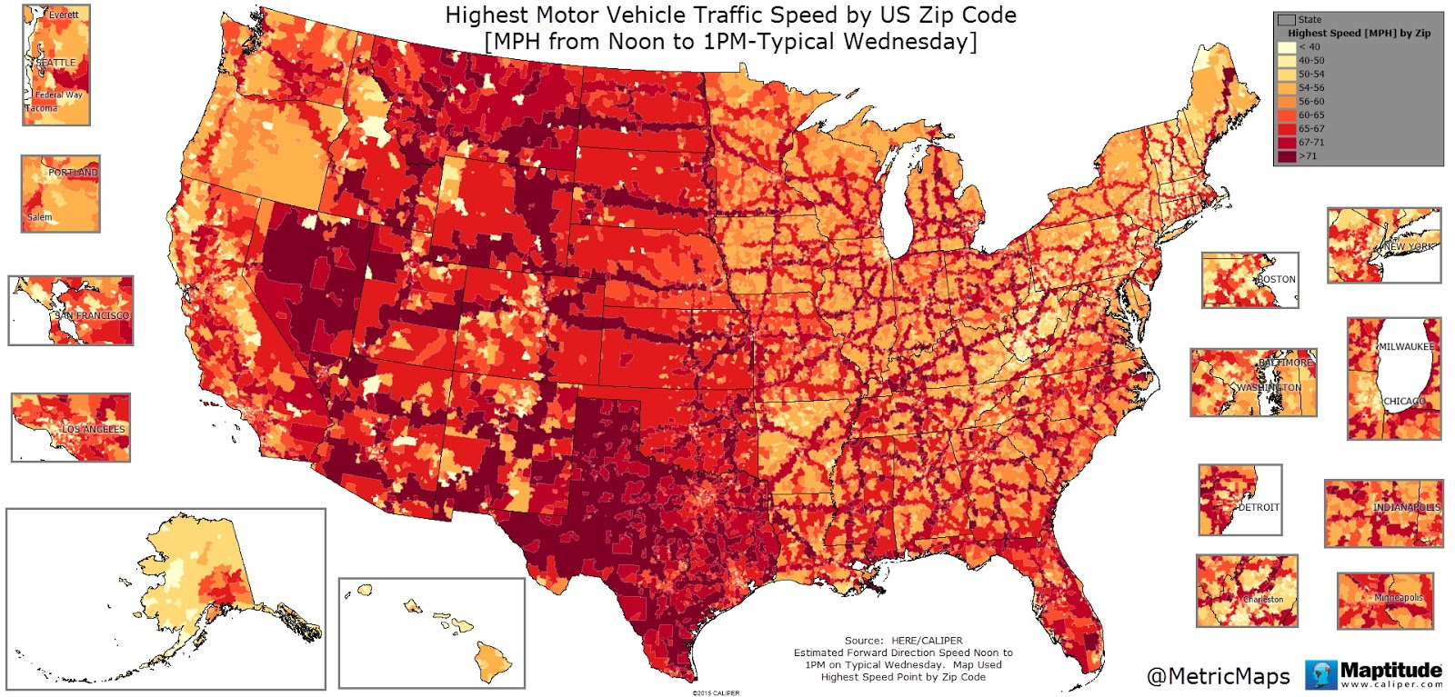 Highest motor vehicle traffic speed by U.S. zip code