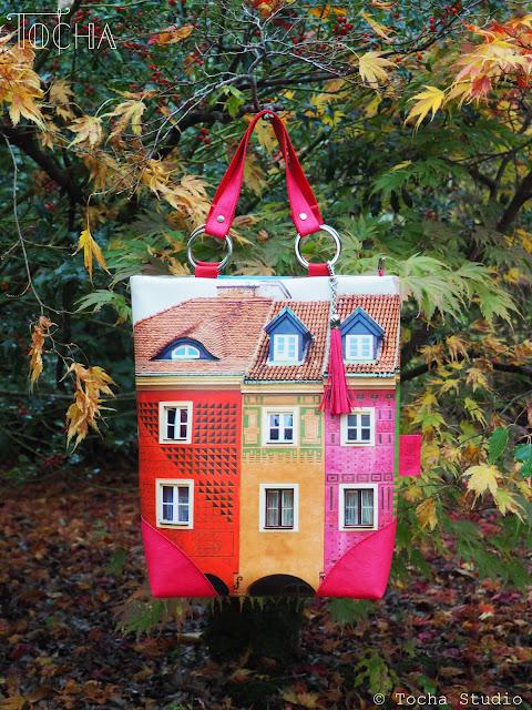 architecture, buildings, city, digital print, handbag, hat, leatherette, millinery, photography, Poznań, skirt, textile design, town, Domki Budnickie, Vegetarian Shoes, washpapa,