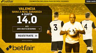 betfair supercuota victoria del Valencia al Zaragoza 30 noviembre