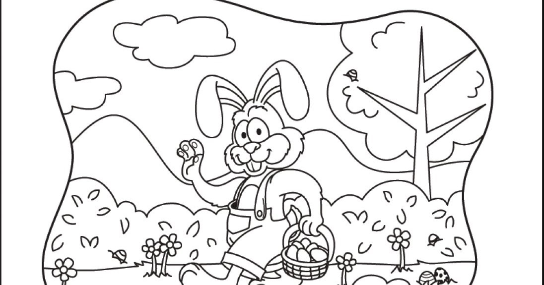 Coloring & Activity Pages: Easter Bunny Waving & Holding