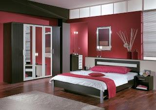 Dormitorio blanco rojo negro