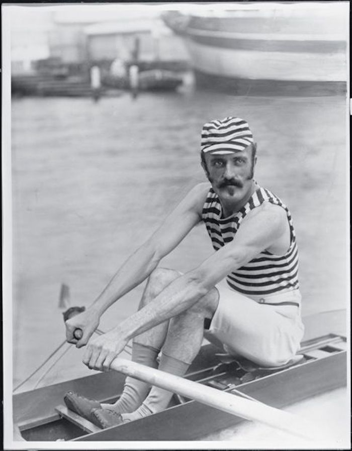 Frank Senior, Australian sculler. Rowing and sculling were popular spectator sports. 1890s to 1910s. Coxswain, rowing, and Other stories of Olympics. marchmatron.com