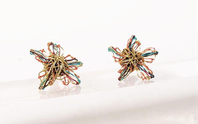 Modern earrings, 14k gold flower earrings