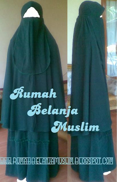 Gamis Akhwat Muslimah Syar'i Hijau Botol