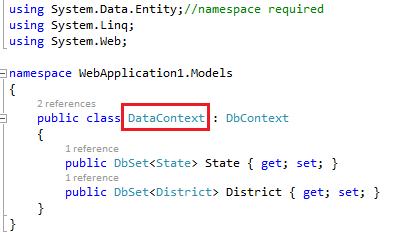 Data context and web.config file connection string