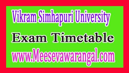 Vikram Simhapuri University UG 2nd Year 3rd Sem Dec 2016 Revised Exam Time Table
