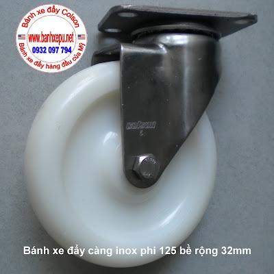 Bánh xe công nghiệp càng inox 304 colson Nylon 6 pa phi 125 www.banhxepu.net