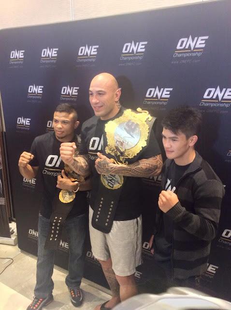 "ONE Heavyweight World Champion Brandon ""The Truth"" Vera, ONE Bantamweight World Champion Bibiano ""The Flash"" Fernandes (Brazilian) and Filipino fighter Danny Kingad."