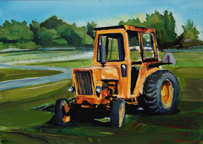 Acrylic painting of tractor at knox farms in East Aurora, New York