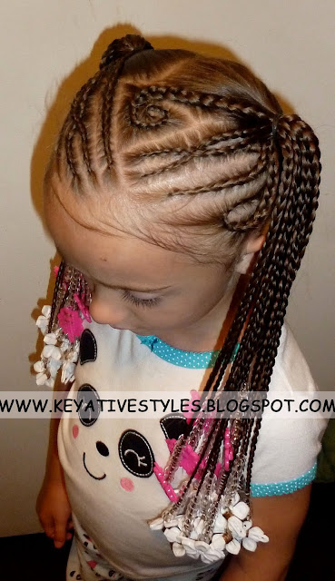Keyative Styles Half Back Cornrows Into Braided Pigtails