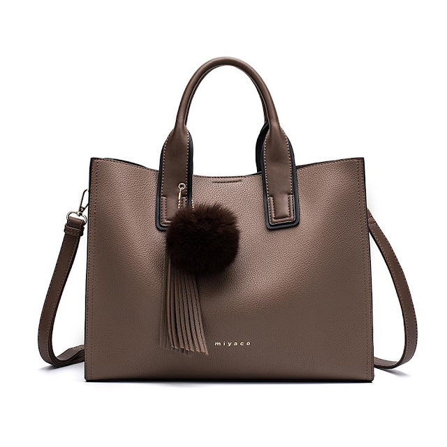 Women's Leather Tote Handbag with Shoulder Strap and Fluffy Accessory