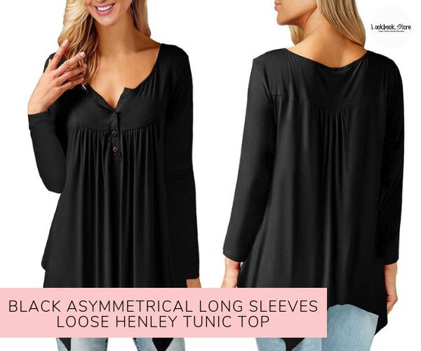 Black Asymmetrical Long Sleeves Loose Henley Tunic Top - Lookbook Store